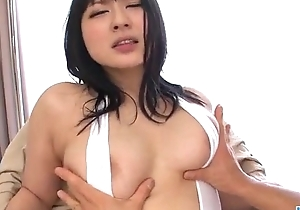 Brunette girl Megumi Haruka screams in harsh manners