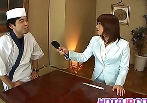 Mitsu Anno gets cock deepthroat and cum in indiscretion in food fetish