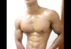 Blue Asian muscle male
