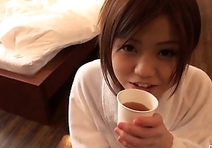 Nao plays with her creamy vag during hot porn show