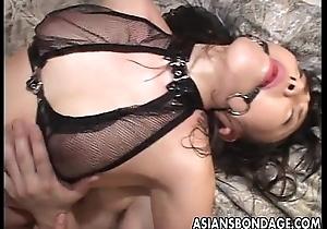 Gag ball loving Asian slattern getting bdsm treated