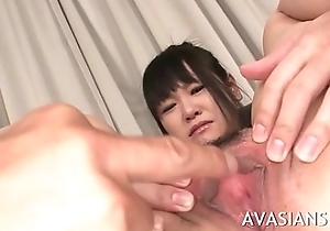 Slutty brunette jap get her hairy asshole toy used