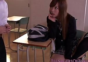 Cute japanese schoolgirl receives a creampie