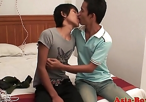 Bound asian twink gets his cocksucked