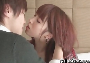 Gorgeous japanese teen sucks penis