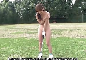 Subtitled HD Japanese nudist golf practice outdoors