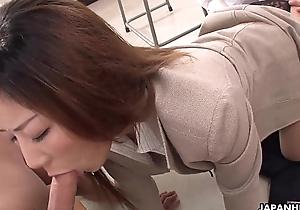 Naughty Japanese cram sucking off her students
