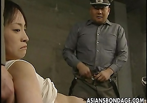 Japanese chick viewed down and stuffed with heavy dicks