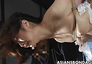 Lovely Japanese cutie gets bound, suspended coupled with distressing