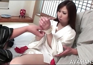 Shy asian girl gets will not hear of pussy spread wide wits some strangers