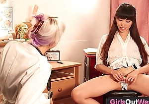 Girls Overseas West - Hot lesbian gynecologist gets fisted