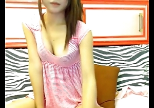 Asian teen shows say no to tits on webcam