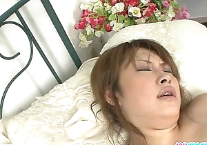 Busty and kinky Asian bimbo gagging and double penetrated