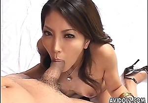 Elegant Japanese beauty Saya sucking uncensored