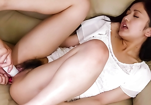 Raunchy Ai Wakana gets her cunt toyed on touching a sex-toy