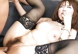 Sayaka Tsuzi moorland thigh highs finds their way slit filled with a fast dick while that babe sits in a throne overdue
