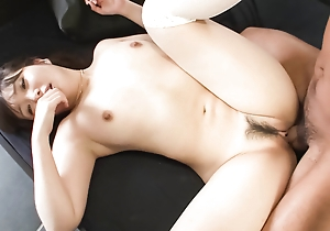 Haruka Oosawa is blindfoled and leaning towards a cock in feel before will not hear of trimmed pussy is toyed.