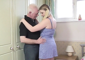 Oldman copulates young blonde back slay rub elbows with bedroom