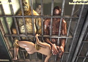 Lara Croft brutally fucked wits ogres in prison 3D Animation