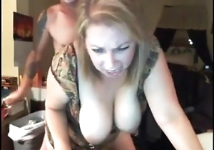 Slutty busty Mummy has sex with hubby and his join up vulnerable cam