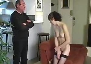 CMNF housmaid unvarnished naked and grimaced for jerking