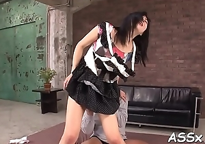 Blowjob from asian playgirl in upskirt