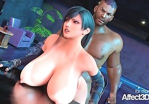 Big tits bartender blacked in a 3d fire