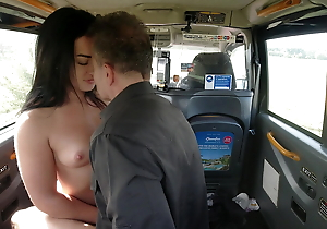 Amazing brunette tells the driver about her miserly lover