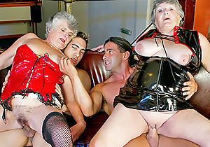 Two venerable grannies obtain drilled by younger dudes