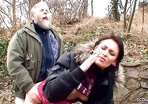 Ugly Granddad Has Outdoor Sexual congress with Adorable Schoolgirl for Cash