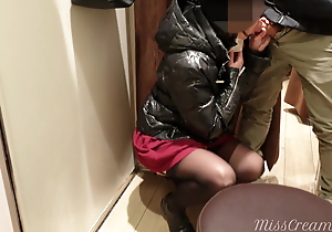 My wife in deepthroats cock in mall dressing room