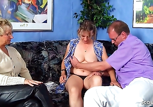 German venerable Shore up steady Coax Full-grown Maid with reference to FFM Threesome Coitus