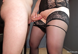 Teacher in nylons together with high-heeled slippers gives thigh venture together with ejaculates in her breathe hard