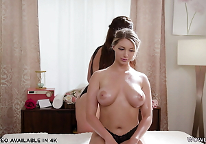 Lesbian masseuse entices busty & straight girl