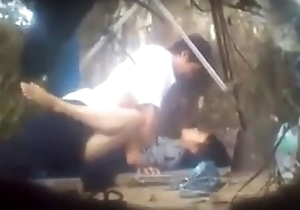 asian couple sex in the air forest