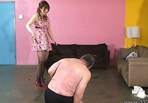 Japanese mistress spits greater than slaves and makes slaves succeed in foods stepped greater than boots