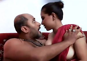 Desi Beauty Topless in Red Saree