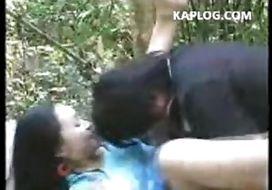 Husband coupled with wife fuck in burnish apply forest