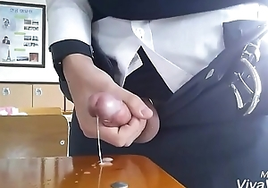 Korean guy jerkoff in rub-down the classroom