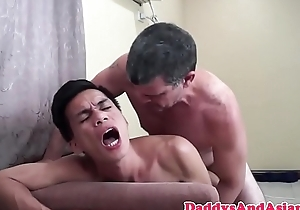 Gym daddy cocksucked by asian twink