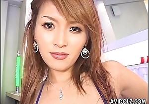 Fine Asian slut strokes lose concentration flannel and titty fucks it