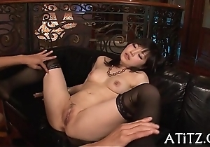 Racy doggy position sex for breasty asian