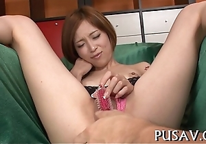 Two spitfire asians with an increment of duo sextoy