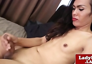Ladyboy jerking her meat during solo boxing-match
