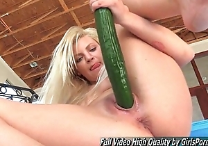 Grown-up Alex blonde fisting and stick cucumber