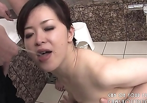 Submissive Japanese Slut Pleasing Cock Up Along to Bathroom