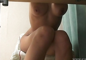 Voyeuring an obstacle brown facing japanese gir has become an obstacle naked