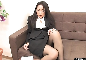 Asian office worker rubs her wet pussy take