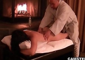 Asian gets the brush body massaged and creampied